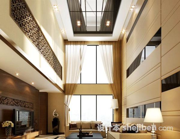 别墅客厅窗帘模型下载