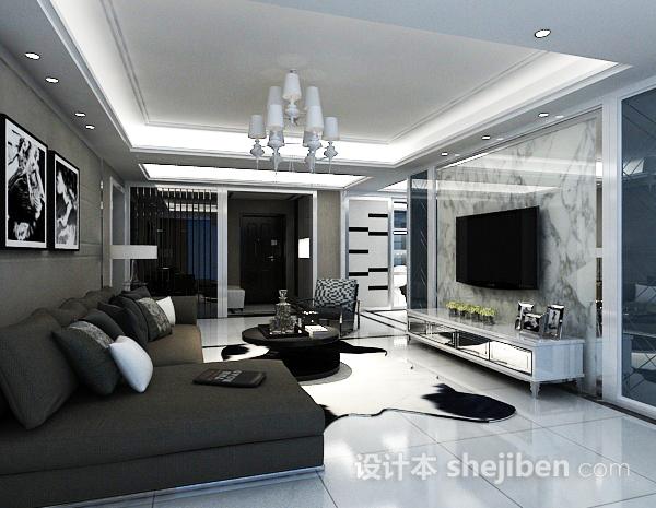 白色客厅电视墙模型