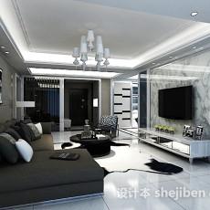 白色客厅电视墙3d模型下载