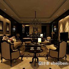 客厅软包电视墙3d模型下载