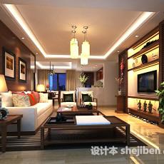 新中式客厅设计3d模型下载