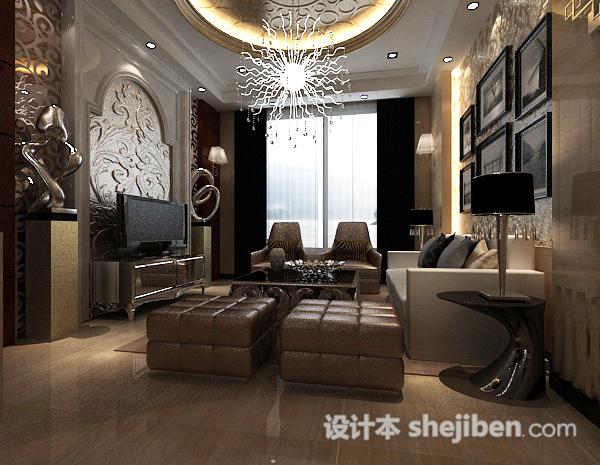 欧式别墅客厅圆形雕花板
