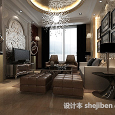 欧式别墅客厅圆形雕花板3d模型下载