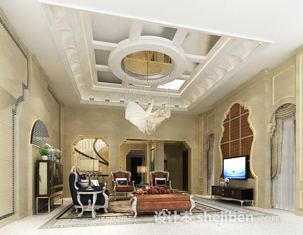 3d欧式客厅吊顶模型下载