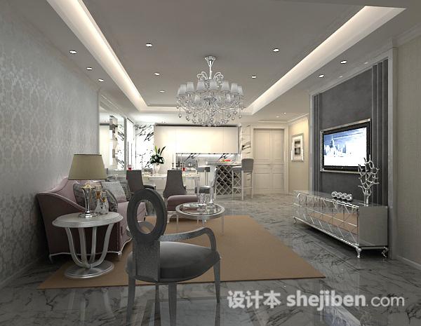 欧式客厅吊顶3d模型