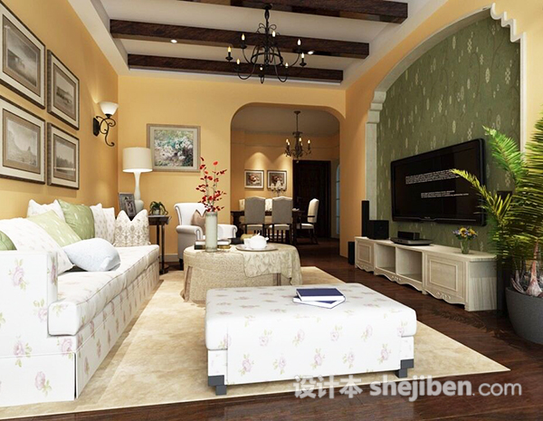3dmax欧式室内客厅模型