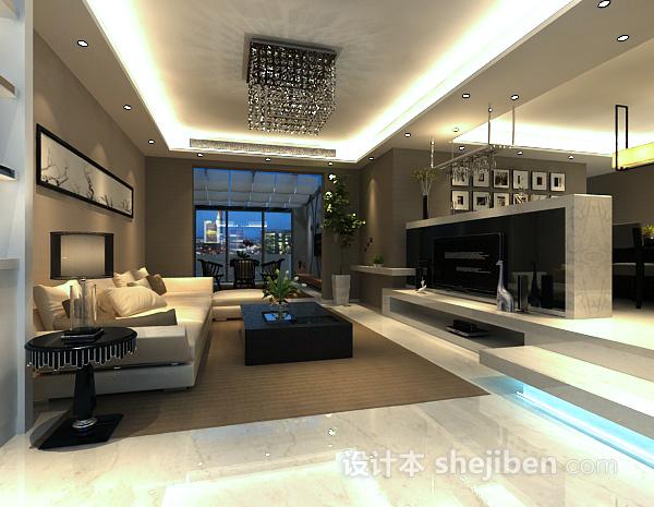 现代客厅隔断模型