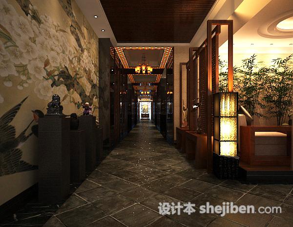 中式餐厅走廊3d模型