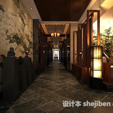 中式餐厅走廊3d模型下载