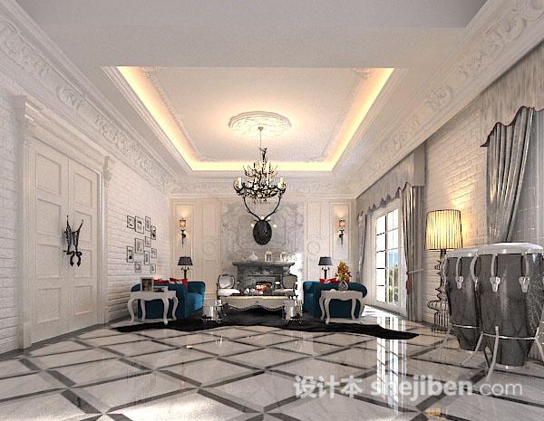 欧式风格客厅整体模型