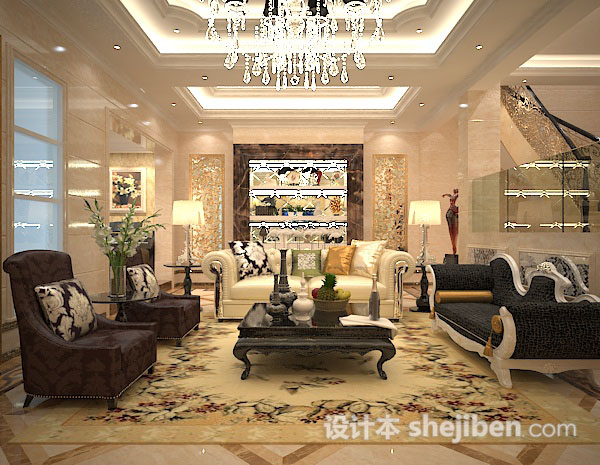 3d欧式客厅茶几模型