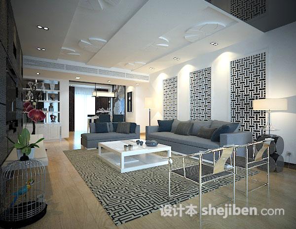 新中式客厅模型下载