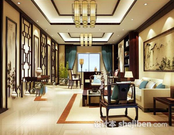 中式客厅挂画模型