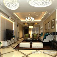 新中式客厅3d模型下载