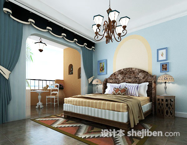地中海风格女孩房卧室