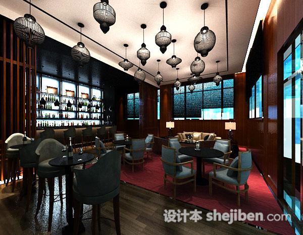 中式餐厅3d吊灯模型