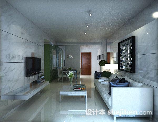 3dmax简约室内客厅模型
