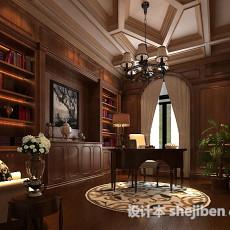 美式书房3d模型下载