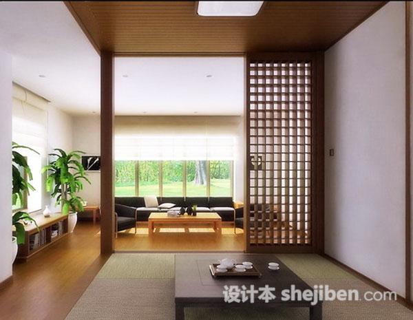日本和室空间3D模型3套下载