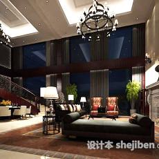 别墅客厅餐厅场景3d模型下载