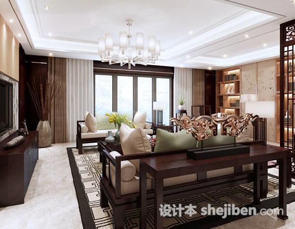 中式客厅隔断模型