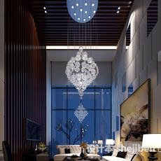 别墅客厅整体3d模型下载