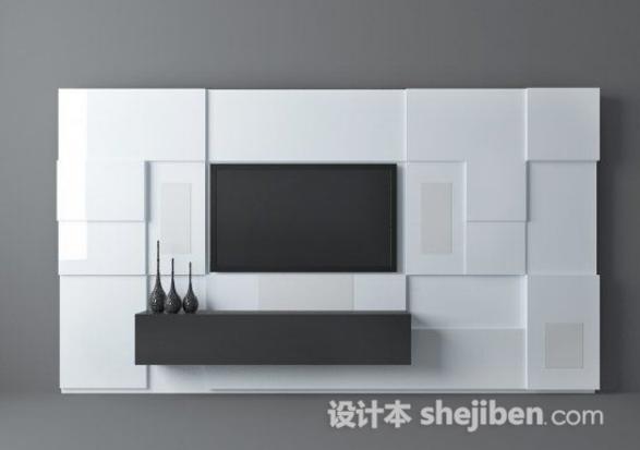 黑白简约电视墙 3d模型下载