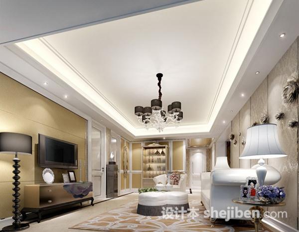 欧式风格客厅吊顶模型