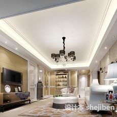欧式风格客厅吊顶3d模型下载