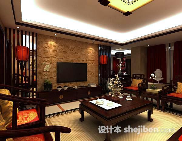 中式客厅电视墙模型