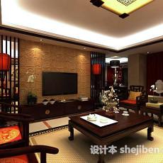 中式客厅电视墙3d模型下载