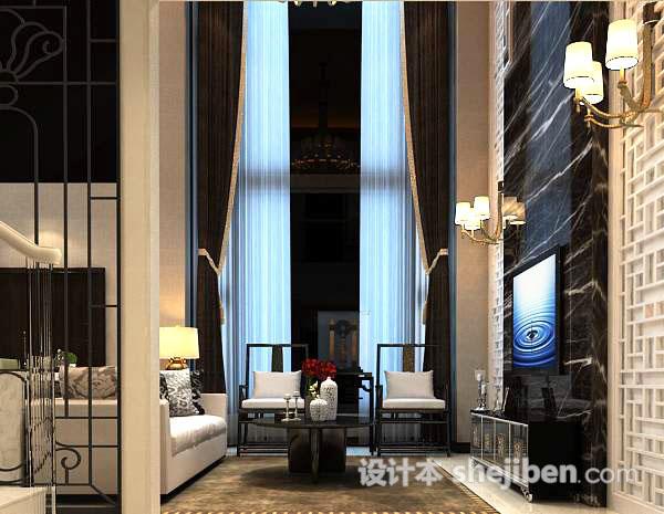 别墅客厅窗帘3d模型