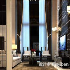 别墅客厅窗帘3d模型下载