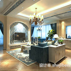 地中海客厅电视墙3d模型下载