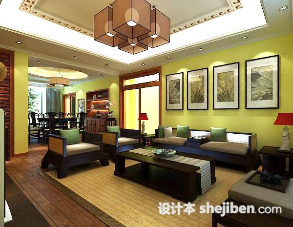 中式客厅挂画3d模型