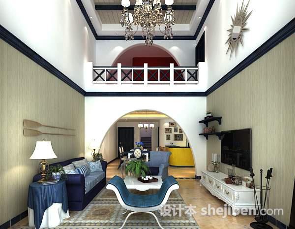 复式楼客厅3d模型