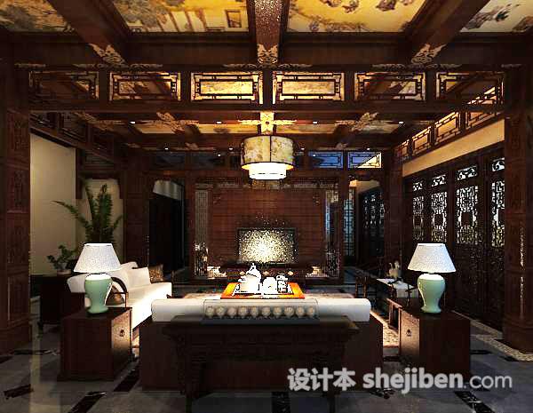 中式客厅吊顶模型