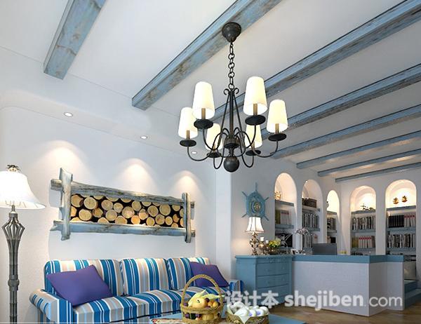 地中海风格客厅吊顶模型