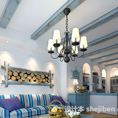 地中海风格客厅吊顶3d模型下载