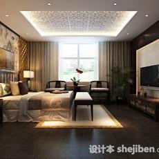 中式卧室吊顶3d模型下载