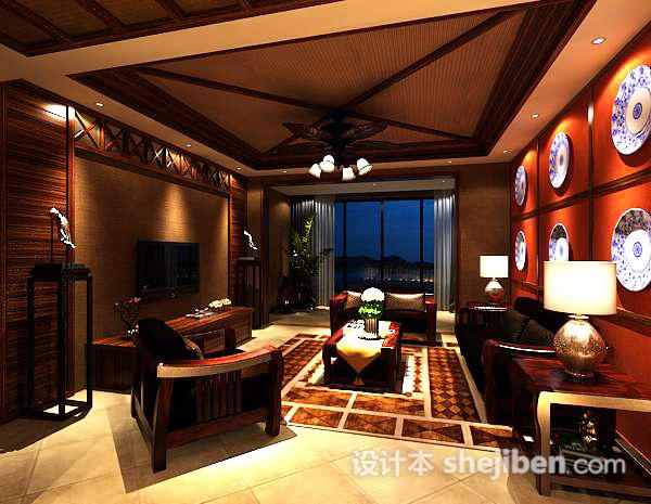 3d中式室内客厅模型