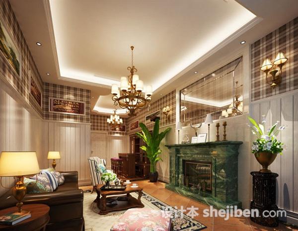 欧式小户型客厅模型