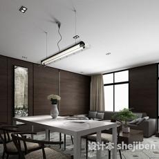 新中式简约餐厅3d模型下载