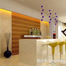 时尚客厅吧台3d模型下载
