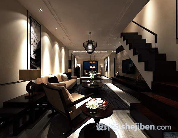 别墅客厅吊灯模型