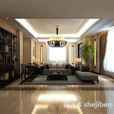 中式客厅博古架3d模型下载