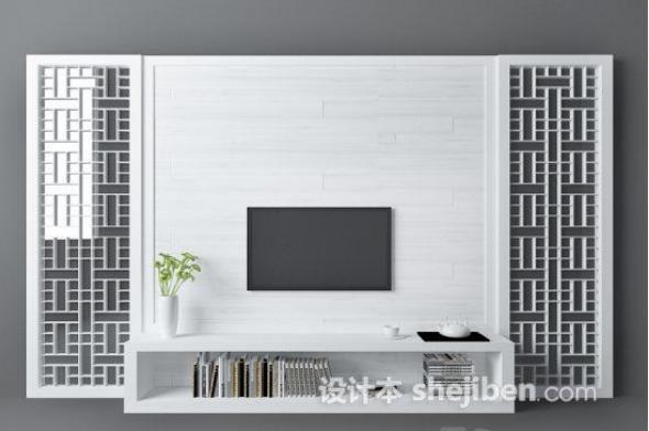 新中式背景墙3d模型