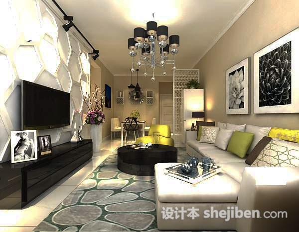 现代客厅石膏电视墙模型
