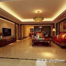 美式客厅3d模型下载