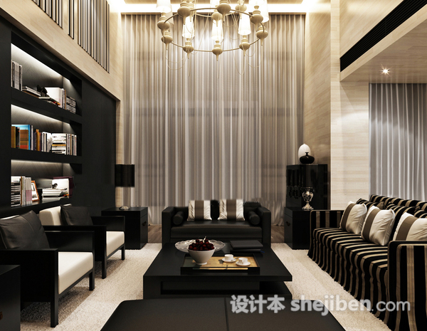现代中式3D客厅模型